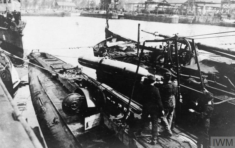 A German minelaying submarine at Zeebrugge.
